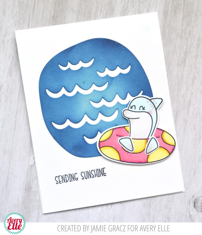 Avery Elle Peek-A-Boo Summer Pals Clear Stamps, Sea Scene Die