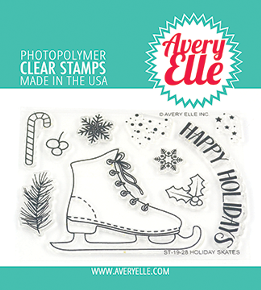 Avery Elle Holiday Skates Clear Stamps