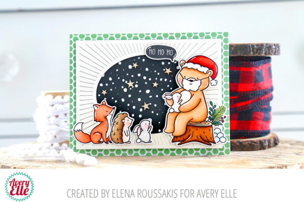 Santa Bear Clear Stamps & Dies