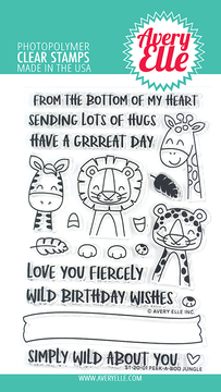 Avery Elle Peek-A-Boo Jungle Clear Stamps