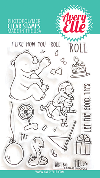 Avery Elle Unicycle Clear Stamps