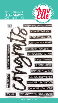 Avery Elle Big Congrats Clear Stamps