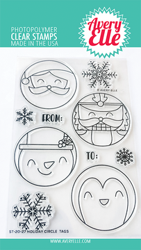 Avery Elle Holiday Circle Tags Clear Stamps