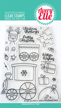 Avery Elle Peek-A-Boo Christmas Train Clear Stamps