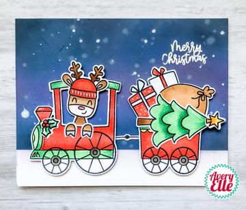 Peek-A-Boo Christmas Train Clear Stamps & Dies