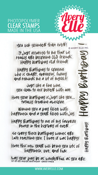 Avery Elle Inside Birthday Greetings Clear Stamps