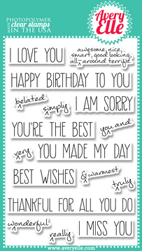 """Our 4"""" x 6"""" Handwritten Notes clear photopolymer stamp set is perfect for creating custom fun greetings.  The sentiments included in this set are great for every occasion.  The caret stamps allow you to customize and emphasize the greetings as you wish."""