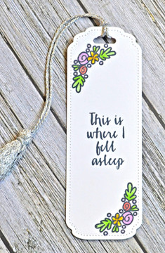 By Jamie Gracz for Avery Elle.  Bookmark Die.  This Book clear stamps.