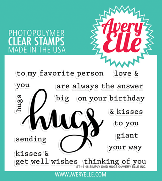 Avery Elle Simply Said Hugs Clear Stamps