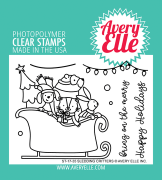 Avery Elle Sledding Critters Clear Stamps