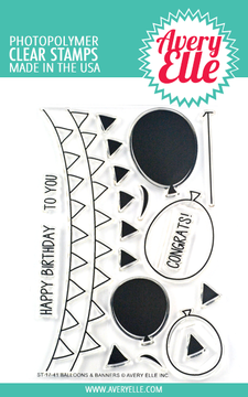 Avery Elle Balloons & Banners Clear Stamps