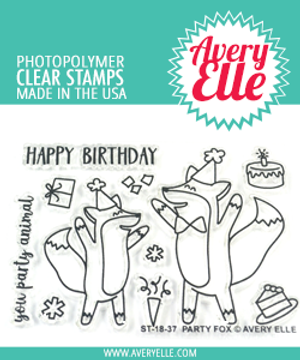 Avery Elle Party Fox Clear Stamps