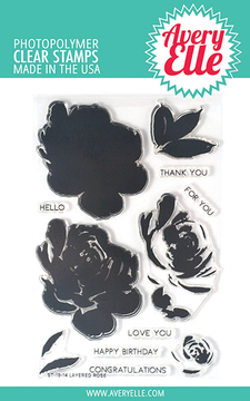 Avery Elle Layered Rose Clear Stamps