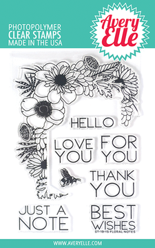 Avery Elle Floral Notes Clear Stamps