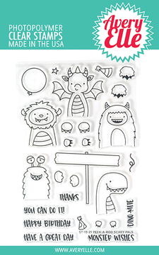 Avery Elle Peek-A-Boo Scary Pals Clear Stamps