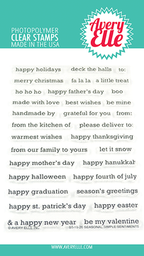 Avery Elle Seasonal Simple Sentiments Clear Stamps