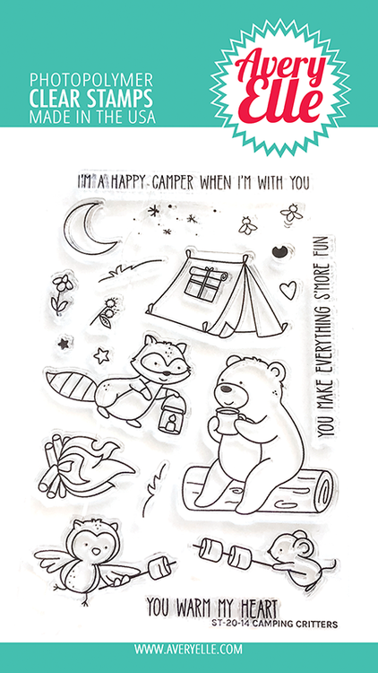 Avery Elle Camping Critters Clear Stamps