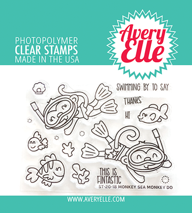 Avery Elle Monkey Sea Monkey Do Clear Stamps