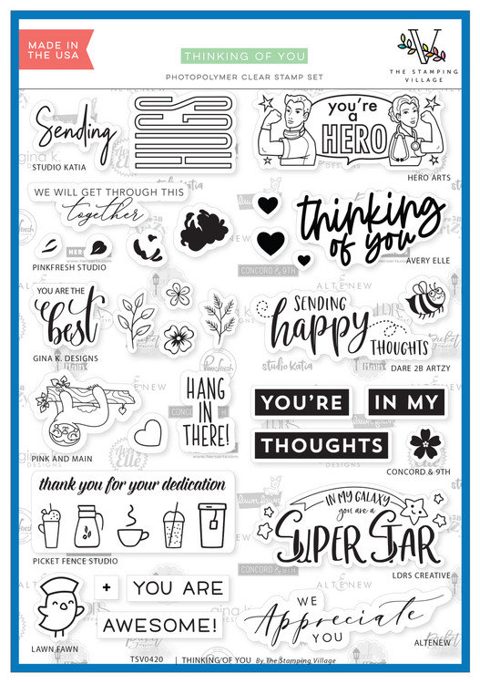 The Stamping Village Thinking Of You Stamp Set