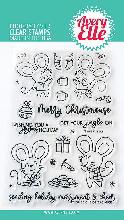 Avery Elle Christmas Mice Clear Stamps