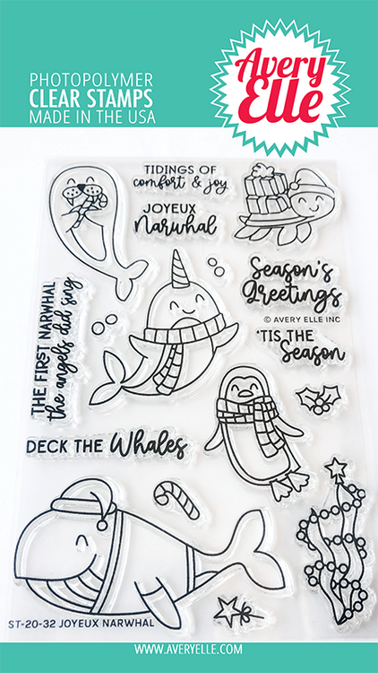 Avery Elle Joyeux Narwhal Clear Stamps