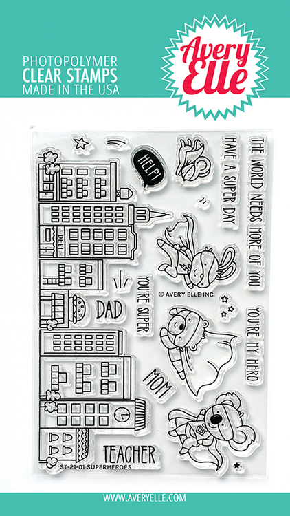 Avery Elle Superheroes Clear Stamps