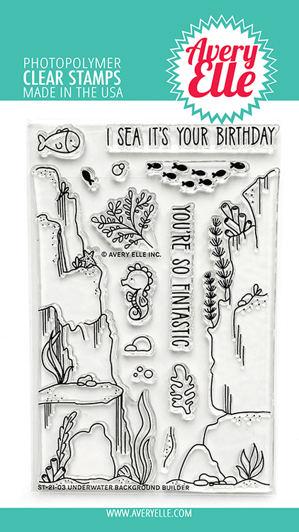 Avery Elle Underwater Background Builder Clear Stamps