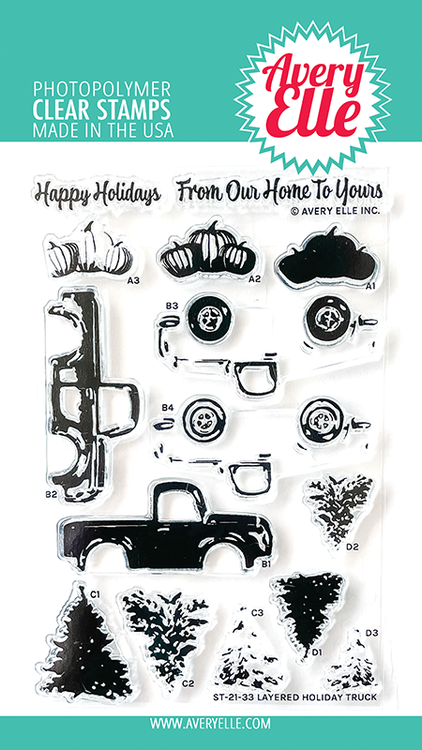 Avery Elle Layered Holiday Truck Clear Stamps