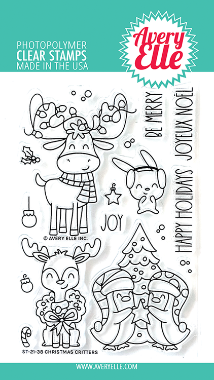 Avery Elle Christmas Critters Clear Stamps