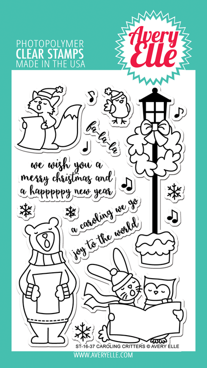 Avery Elle Caroling Critters Clear Stamps