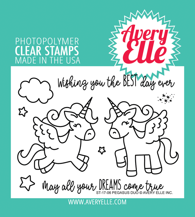 Avery Elle Pegasus Duo Clear Stamps