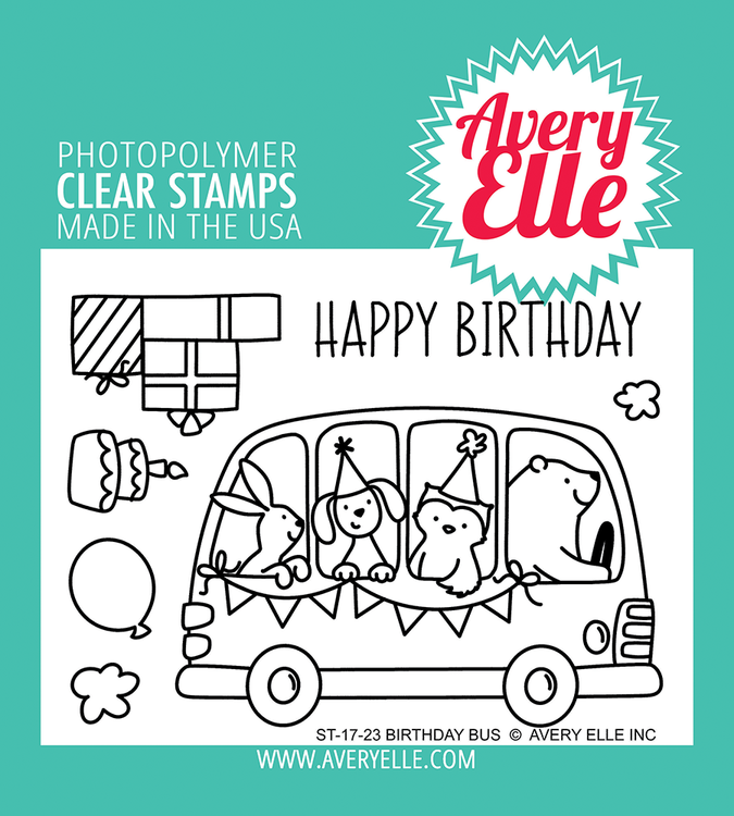 Avery Elle Birthday Bus Clear Stamps