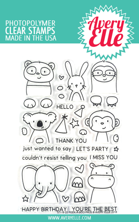 Avery Elle Peek-A-Boo Pals Clear Stamps