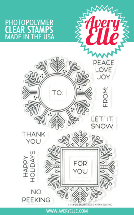 Avery Elle Snow Tags Clear Stamps