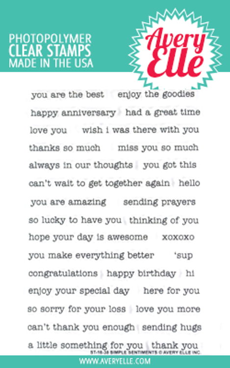 Avery Elle Simple Sentiments Clear Stamps