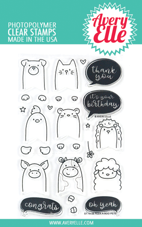 Avery Elle Peek-A-Boo Pets Clear Stamps