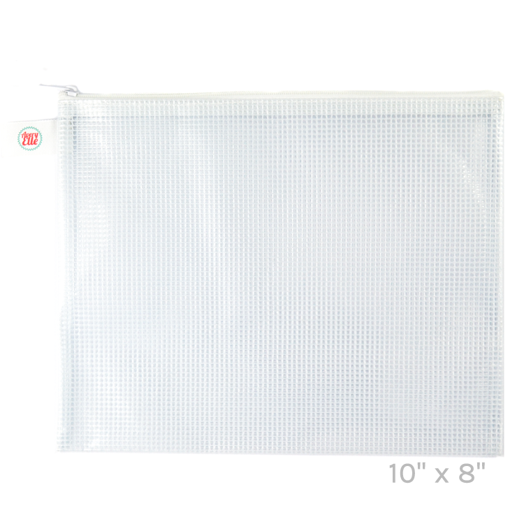 Avery Elle White Small Zippered Vinyl Mesh Pouch