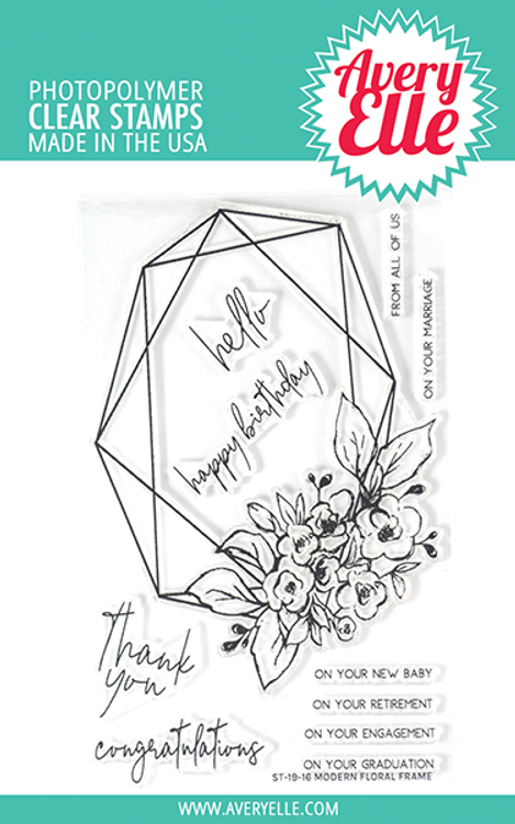 Avery Elle Modern Floral Frame Clear Stamps