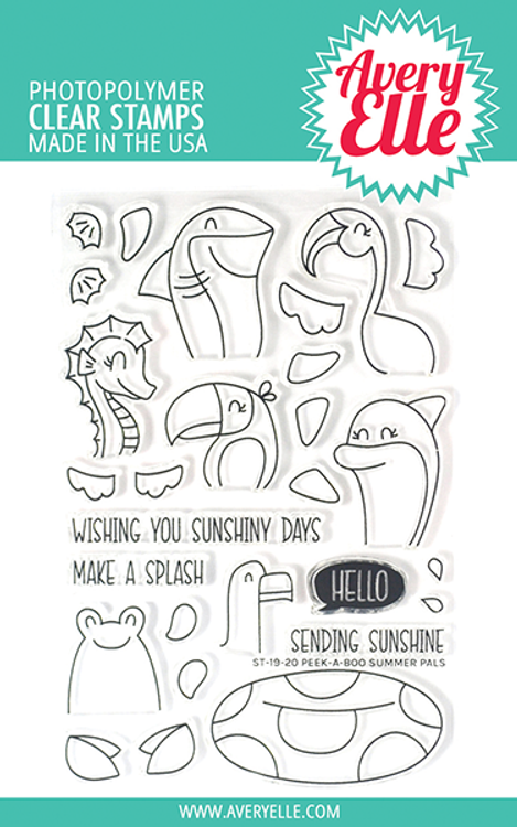 Avery Elle Peek-A-Boo Summer Pals Clear Stamps