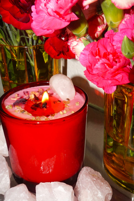 Symbol of Love Crystal Candle | Gentle Healing & Compassionate Love