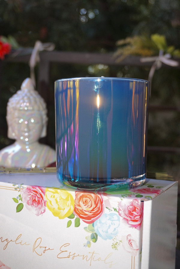Double-Wicked, Iridescent Aura Crystal Candle | Energy Protection