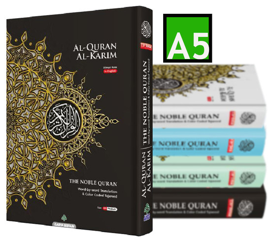 SAVE £££ 3 Copies of NOBLE Quran Word For Word Colour Coded Tajweed Arabic-English Translation A5 Size