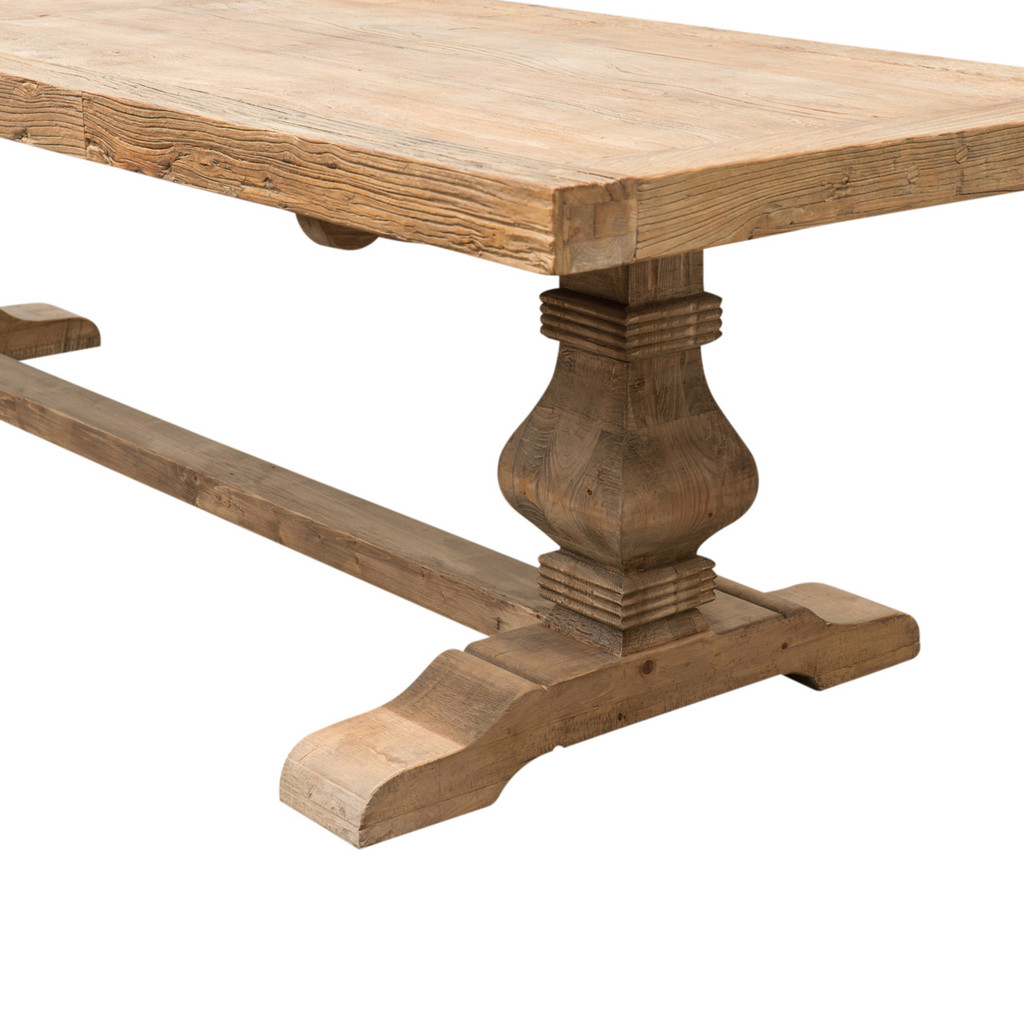 DINING TABLE PEDESTAL ELM 2.7M (F098)