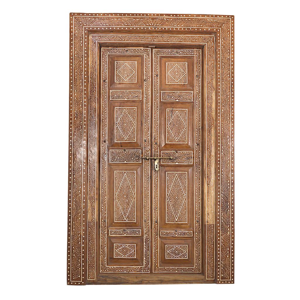 PAIR OF TEAK DOORS BONE INLAY (JZ419)