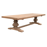 DINING TABLE PEDESTAL ELM 3.6M (F099)