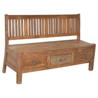 BENCH SEAT, TEAK, 3 DRAWER (JX111)