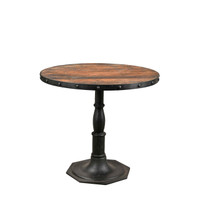 IRON ROUND TABLE WITH WOOD TOP (JZ076)