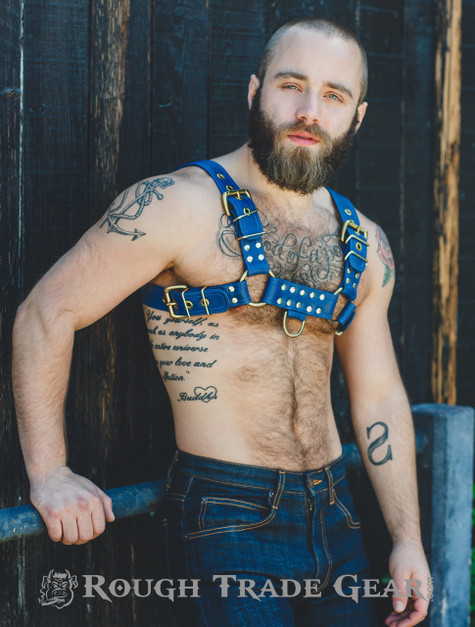 Mens Leather /'H/' Bulldog HARNESS GAY  blue Leather white piping  Harness 38 to56