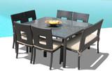 Nicole 8-Piece Square Dining Set w/ Bench