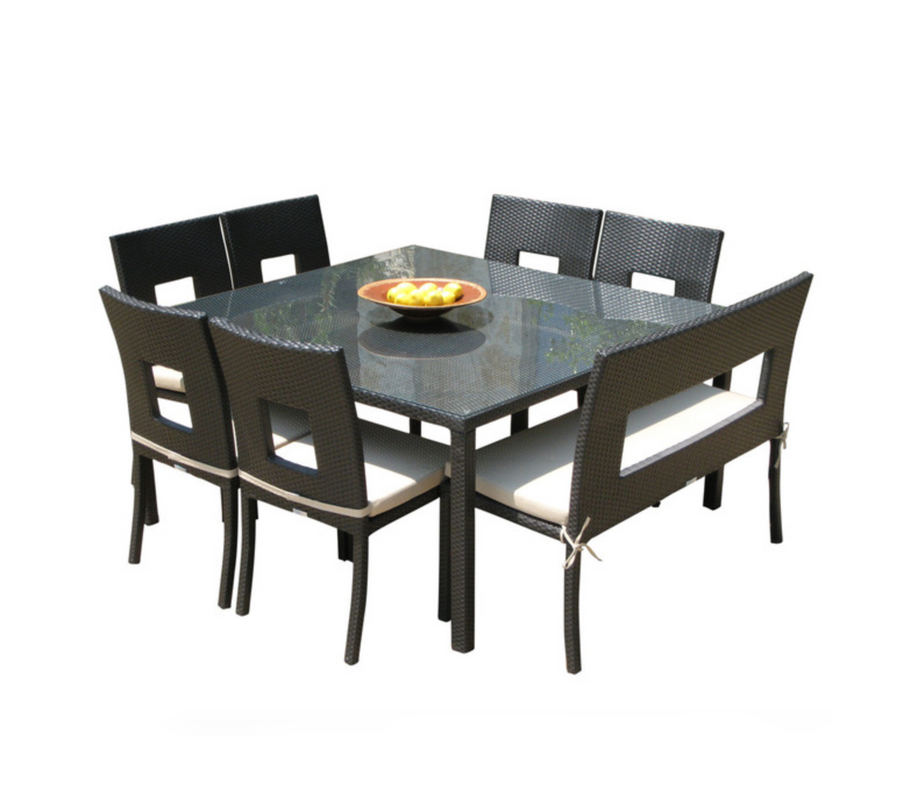Nicole 8-Piece Square Dining Set w/ Bench